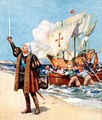 Christopher Columbus landing in America, 1492