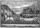 Horse-drawn carriage on Baltimore and Ohio Railroad c1830