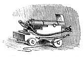 Ship cannon on gun carriage, Wood engraving, 1884