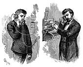 New York telephone subscriber making call, 1883