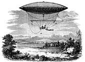 Henri Giffard's steam powered steerable airship, 1852