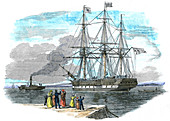 British emigrant ship being towed out of harbour