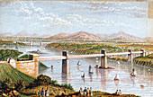 Britannia Tubular Bridge over Menai Straits, Wales, c1850s