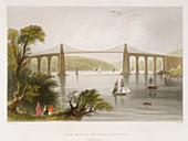 The Menai Bridge, Bangor (North Wales)', c1826-c1850