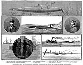 Torsten Nordenfeldt's steam-powered submarine, 1885