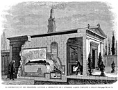 Cut-away view of Garini's cremation furnace used in Milan