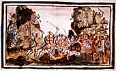 Hernando Cortes attacking natives in Mexico