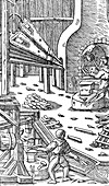 Steel production: a forge with bellows to produce draught