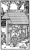 Bellows supplying draught to a smelting furnace, 1556