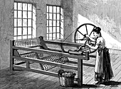 Woman using a Spinning Jenny, c1880