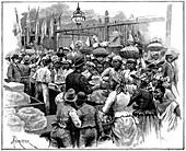 Ice stall in the market, Georgetown, Demerara, Guyana, 1888