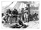 Captives being brought on board a slave ship, West Africa