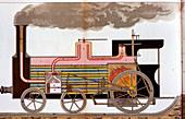 Mid-19th century steam railway locomotive