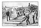 Laying sleepers and rails, Transvaal Railway, South Africa