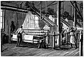 Weaving shed fitted with Jacquard power looms, c1880