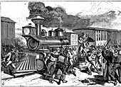 Riot by railroad workers at Martinsburg, USA