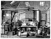 Kitchen of a food cannery, c1870