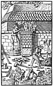 Blast furnace for smelting iron ore, 1556