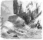 Hawaiian men surfing using wooden boards, c1895