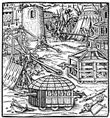Various forms of siege equipment, including battering rams