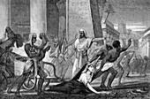 The murder of Hypatia, neo-Platonic mathematician