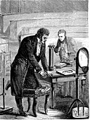 Hans Christian Oersted, Danish physicist, 1820