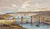 The Britannia Tubular Bridge, Menai Strait, Wales, c1850