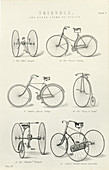 Six early forms of bicycles and tricycles, 19th century