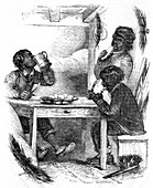 Boy chimney sweeps eating their evening meal, 1861