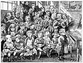 Children waiting for soup, London Board School