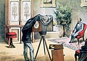 Portrait photographer's studio, c1880
