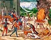 Spanish conquistadors torturing American indians, 1539-1542