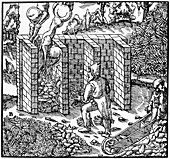 Roasting copper ore in a furnace at C, 1556