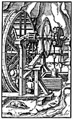 Pump powered by men in a treadmill, 1556