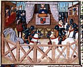 Richard II, King of England, presiding at a tournament