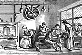Turnspit dog in the inn at Newcastle, Carmarthen, Wales