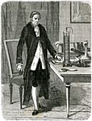 Volta, Italian physicist, demonstrating his electric pile