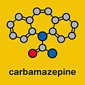 Carbamazepine anticonvulsant drug molecule