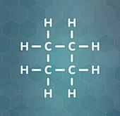Cyclobutane cyclic alkane molecule