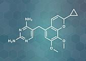 Iclaprim antibiotic drug molecule
