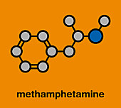 Methamphetamine stimulant drug molecule