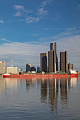 Bulk cargo carrier and Detroit skyscrapers