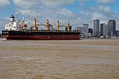 Bulk cargo carrier on the Mississippi at New Orleans