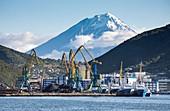 Petropavlovsk-Kamchatsky port with Koryaksky volcano, Russia