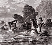 Hunting conger eels, 19th century
