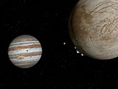 Jupiter and moons Europa and Io, illustration