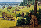 Ice Age human and animals, illustration