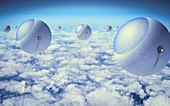 Balloon solar power collectors, illustration