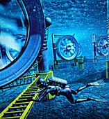 Tidal turbines, illustration