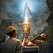 Jet engine 'chimney' to reduce smog, illustration